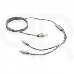 3-in-1 braided cable, grey